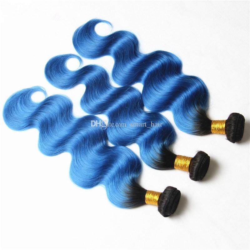 Nouvelle couleur Ombre # 1B Blue Body Wave Extensions de cheveux Dark Root # 1B Bleu Brésilienne Vierge Bundles de cheveux humains /
