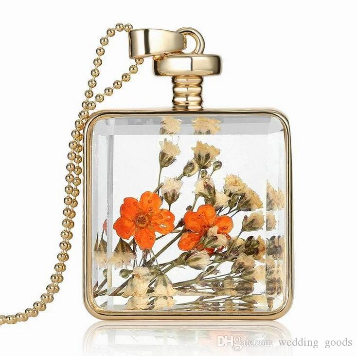New items decorated with multi-color optional dry flower specimens necklace square pendant WFN061 with chain a