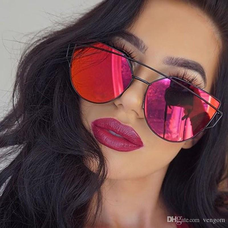 Nouveau Cat eye Femmes Lunettes De Soleil 2019 Nouvelle Marque Design Miroir Plat Rose Or Vintage Cateye Mode lunettes de soleil dame Lunettes UV400 VE53