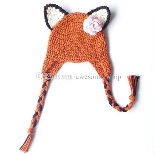 Cute Orange Fox Earflap Hat,Handmade Knit Crochet Baby Boy Girl Twins Animal Hat,Kids Accessories,Winter Cap,Infant Toddler Photo Prop