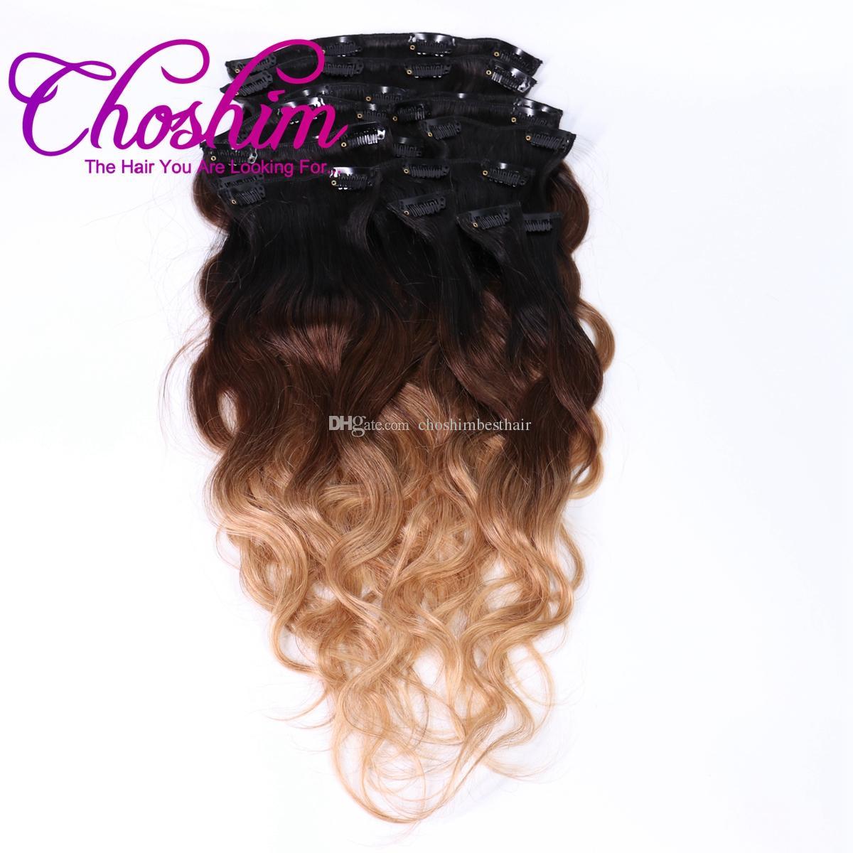 Slove Hair Clip In Human Hair Extension T1B/4/27 Brazilian Kinky Straight Remy Hair Full Head Sets 120G