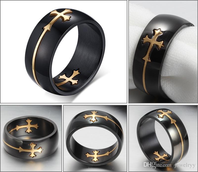 Heißer Verkauf Kreuz Titan Edelstahl Ring Bewegliche Kreuz Fingerringe Modeschmuck Band Ringe Für Mann Frauen Hochzeit Zubehör