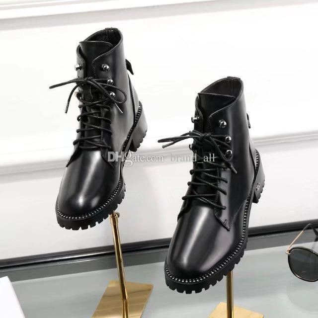 2fc2b2c135c96 Black Lace Up Leather Boots Female Flat Heel Fall Winter New 2018 Womens  Combat Booties Women Rivets Casual Shoes Women Loafers Leisure Shoes Women  Flats ...