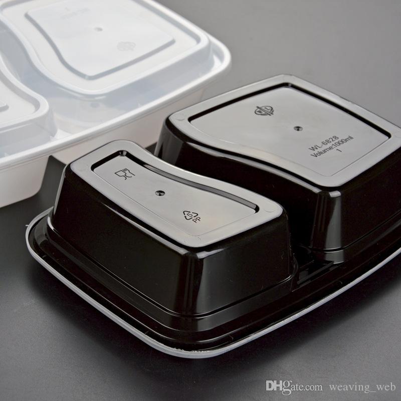 Tek 900ml Plastik Gıda Kutu 2 bölmeli Gıda Öğle Depolama Holoder 2 renk Out Box Yemek takımları atın