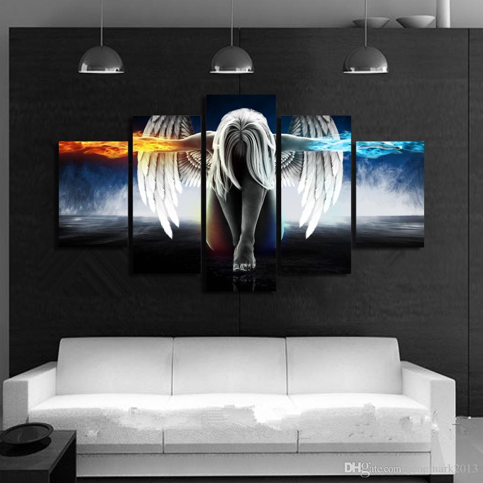 5 Pçs / set Emoldurado HD Impresso lona arte anjo com asas pintura anime room decor impressão da arte da parede do cartaz Frete grátis / up-874