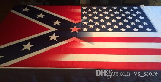 90x150cm american flag with confederate rebel civil war flag new