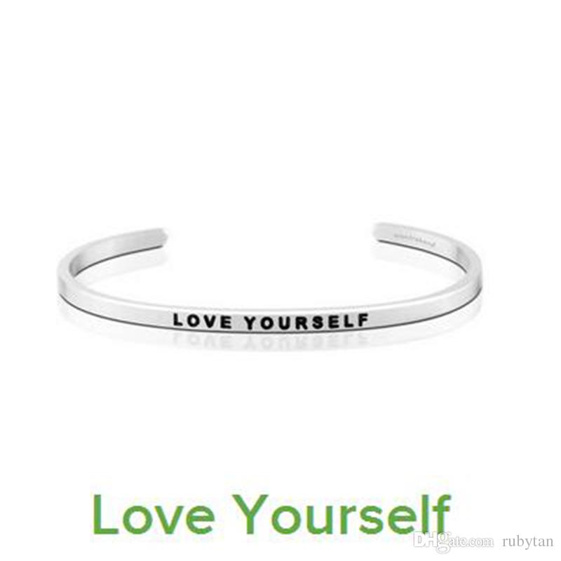 """Hot Sale Silver Fashion Women Cuff Bangle Letter """"LIVE INTHE MOMENT"""" Stamped Stainless Steel Engraved Bangle"""