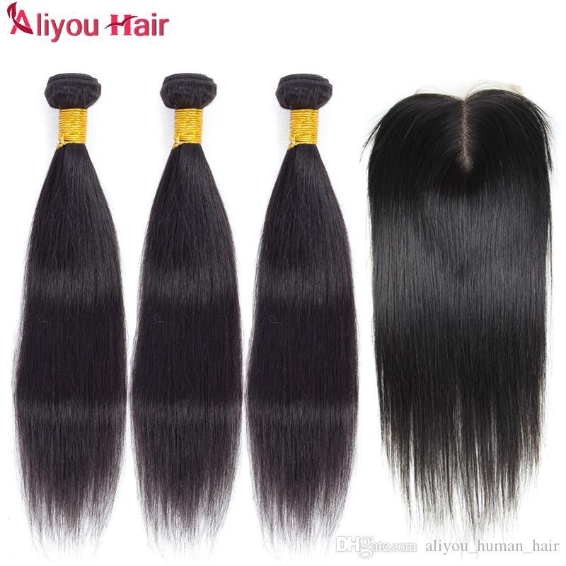 Top qualité non transformés brésilienne vierge droite cheveux humains tisse avec fermeture gros B2B remy cheveux trames dentelle fermeture douce et soyeuse