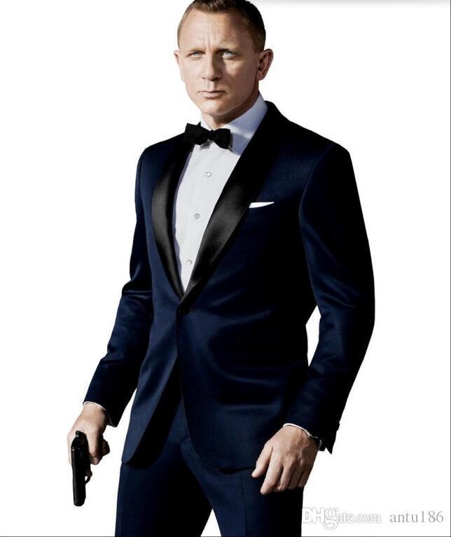 cc956cd265 2019 New Design Men Suits Prom Suits Wedding Suit For Men Best Man Groom  Tuxedos Slim Fit Navy Blue Back Vent Jacket+Pants From Antu186, $94.52    DHgate.Com