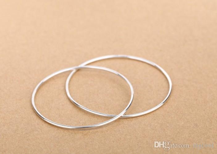 Groothandel 100 stks 925 zilver gladde ronde armband vrouwelijk.circle armbanden