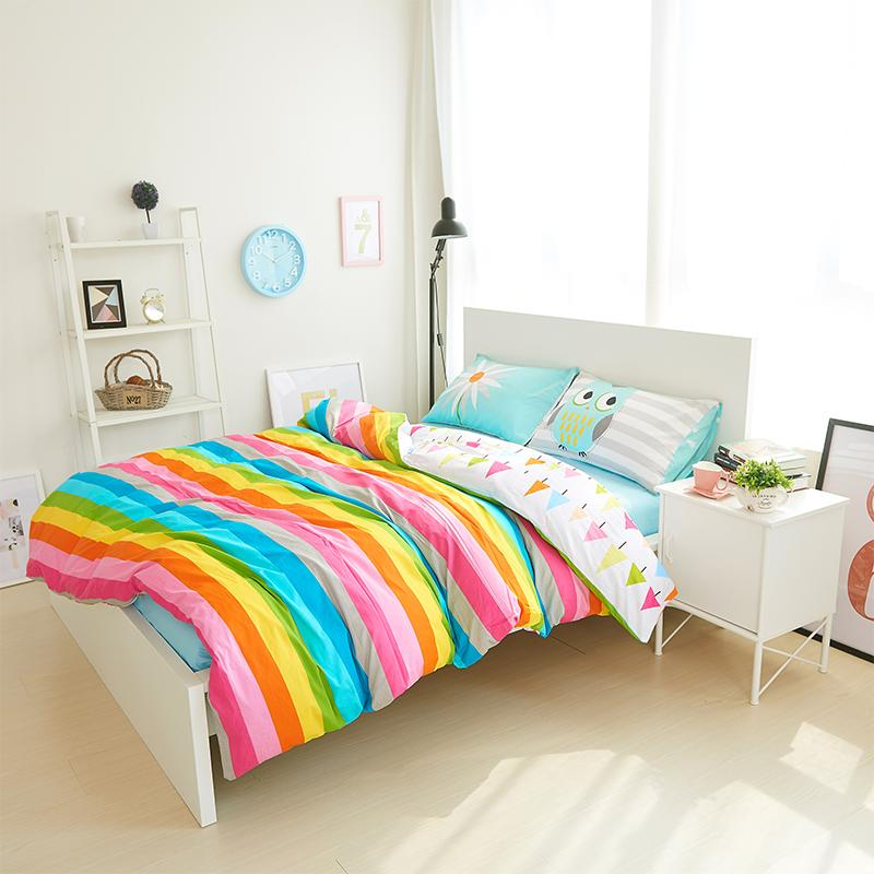 Super Wholesale 100% Cotton Rainbow Owl Bedding Set Cartoon Modern  BY89