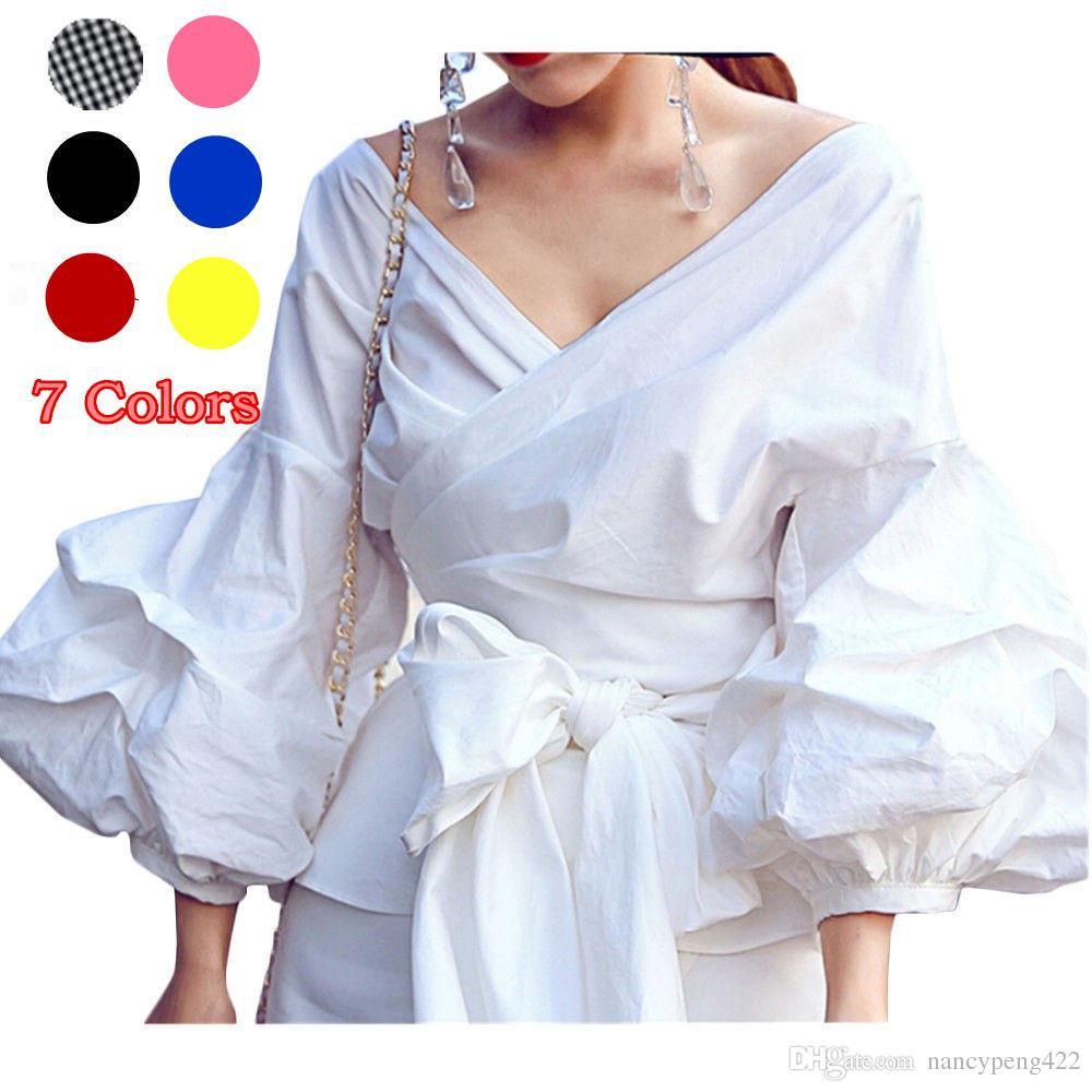 8f4a6e42b86 2019 Women V Neck Elegant Peplum Tops Blouse With Sashes White Rainbow  Stripe New Arrival 2018 Fashion Shirts Blusa Plus Size Women Clothes From  ...
