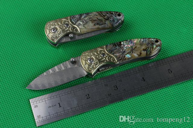 Damascus Small abalone carved copper head outdoor survival camping hunting knife wild gift