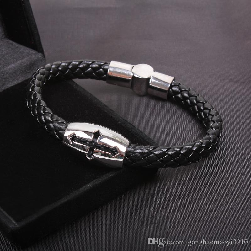 2017 novo original titanium religiosa cruz pulseiras elo da cadeia cristã pulseiras de aço inoxidável jesusacracele padrão de jóias frete grátis