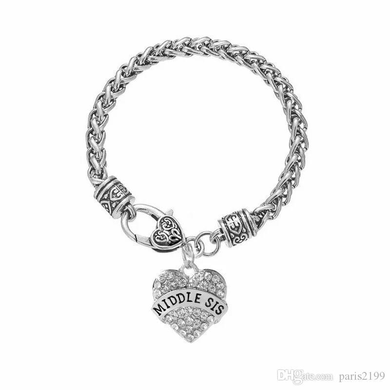 Hot sales Gift Fashion Fitness Bodybuilding Plating Rhinestone Mix color Crystal Heart Charm Bracelets For Women Bracelets Jewelry