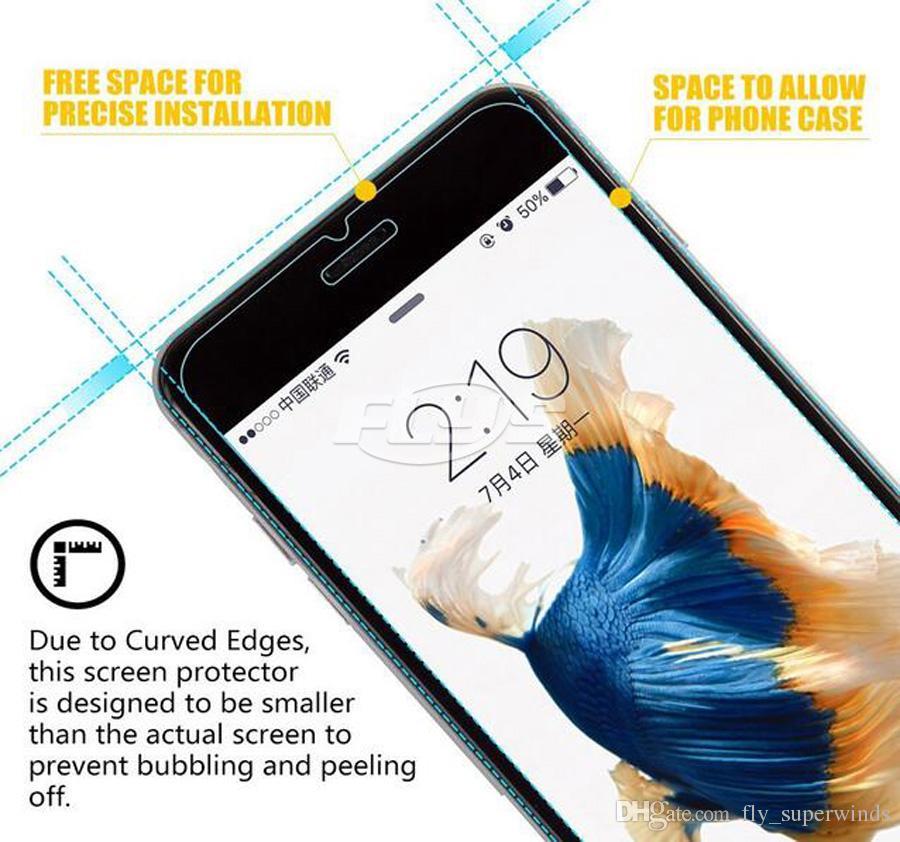 Für iphone 8 gehärtetes glas displayschutzfolie für iphone 8 plus iphone x film 0,33mm 2,5d 9 h anti-splitter papier paket dhl