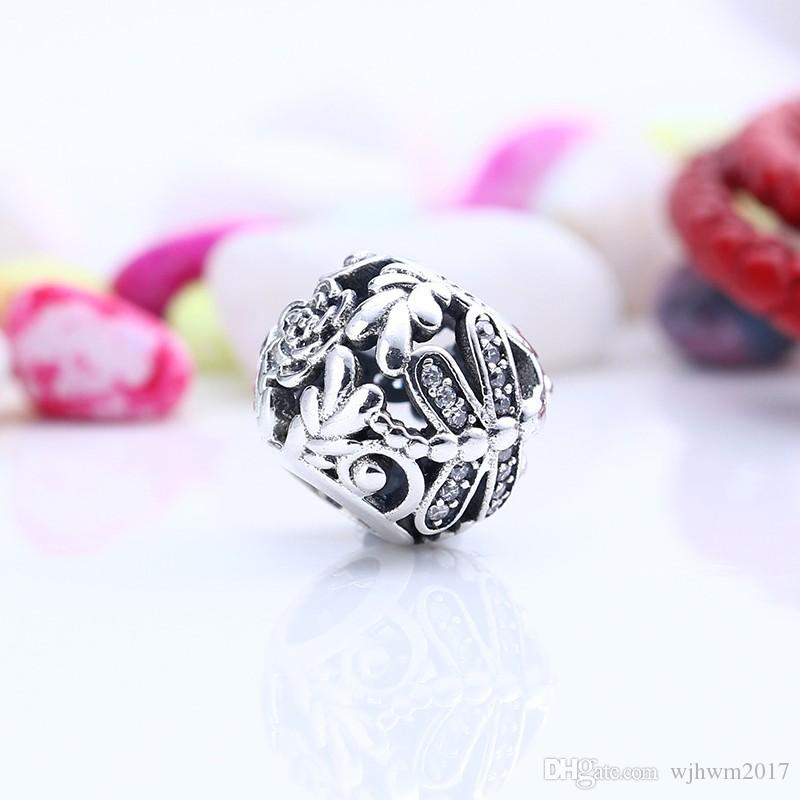 Dragonfly Meadow Charms Bead Authentic 925 Sterling-Silver-Jewelry Pave Crystal Flower Beads DIY Brand Bracelets Jewelry Making Accessories