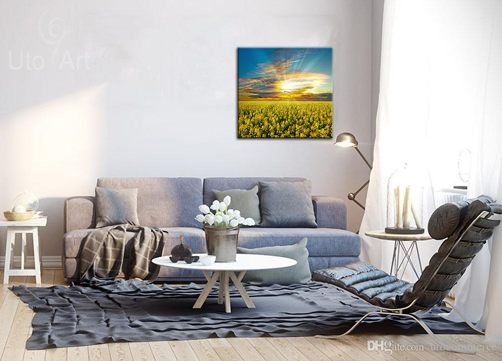 Morden Picture Flowers Art Wall Painting Sunset Landscape Canvas Painting Spray Print for Home Decoration Canvas Print Square