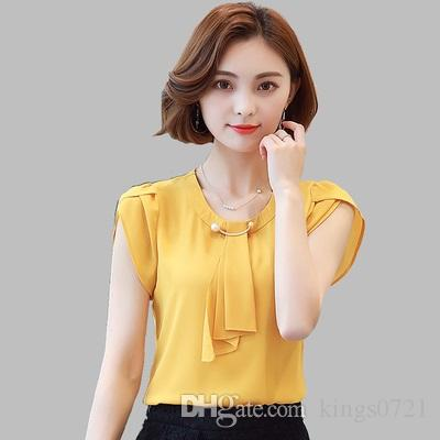 ab0726156ffcc 2019 2017 Summer Solid Chiffon Blouse Women Tops Short Sleeve Shirt Women  Ladies Office Blouse Fashion Blusas Chemise Femme Plus Size From Kings0721