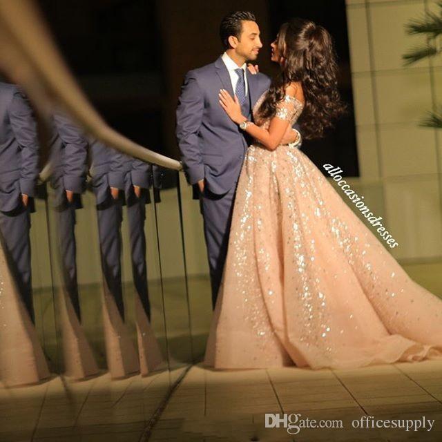 Beaded Lovertjes Arabisch Prom Dresses Sexy Off The Shoulder Formele Avond Feestjurken Celebrity Pageant Jurk