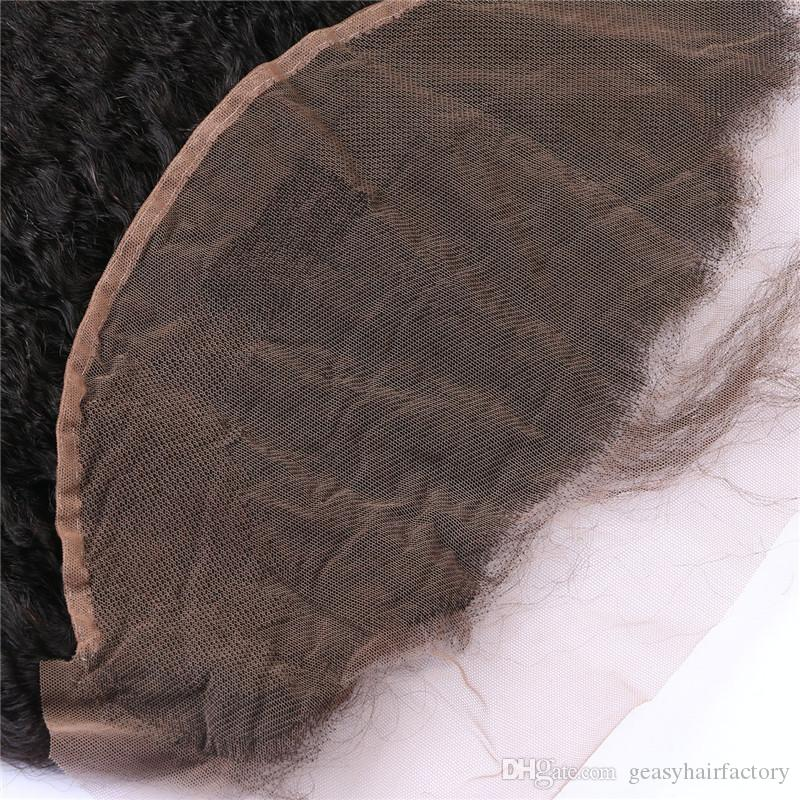Indian Kinky Straight Human Hair Lace Frontals Bleached Knots Virgin 13X6 Full Frontal Closure Bleached Knots LaurieJ Hair