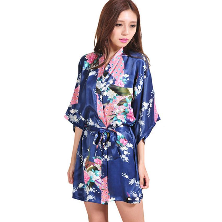 15199229d9 2019 Wholesale Hot Sale Navy Blue Women Kimono Robe Obi Japanese Yukata  Geisha Dress Sexy Lingerie Rayon Nightgown Sleepwear Bathrobe From  Benedica