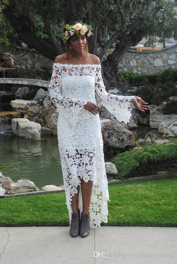 2018 High Low Country Wedding Dresses Lace A Line Off Shoulder Vintage Long Sleeve Bridal Gowns Cheap Dress