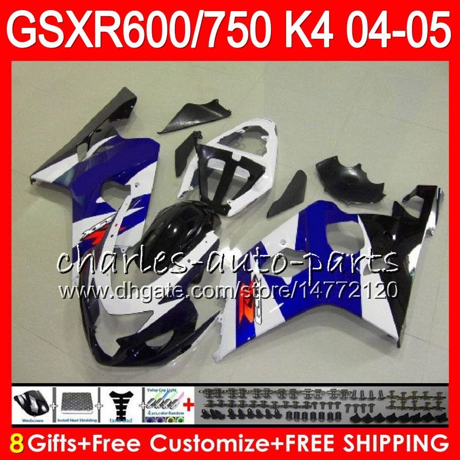 8 Cadeaux 23 Couleurs Corps pour Suzuki GSX-R600 GSXR750 GSXR600 04 05 GLOSS BLEU 9HM37 GSX R600 R750 K4 GSX-R750 GSXR 600 750 2004 2005 Catériel
