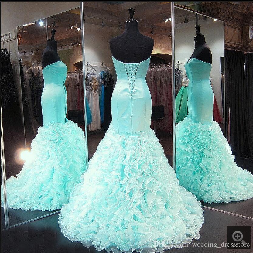 Mint Mermaid Prom Dresses 2017 Sweetheart Satin Ruffles Organza Teesn Formal Prom Gowns Seniors Evening Dresses Custom Made New