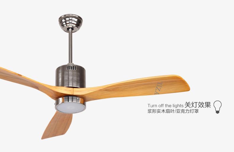 Ventilateur de plafond antique lumière de ventilateur avec télécommande minimalisme lampe de style ventilateur moderne LED solide 3 lames en bois 52inch