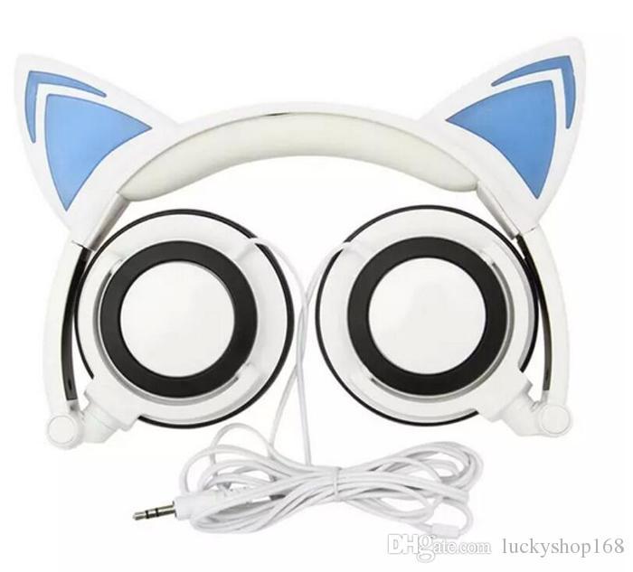 Cosplay Oreja de gato Plegable Parpadeante Resplandeciente Auriculares para niños Auriculares para juegos Luz LED Más en oreja Auriculares para PC Computadora portátil Teléfono