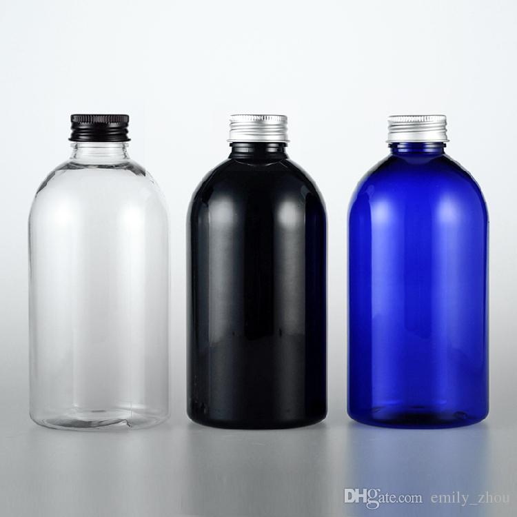 500mlx12 Puste Przezroczyste Niebieskie Czarne Pet Plastikowe Małe Pojemniki Butelka Z Aluminiową Kwiatem Kapturem 500CC Kosmetyczna Oleju Pet Butelka Butelka Butelka