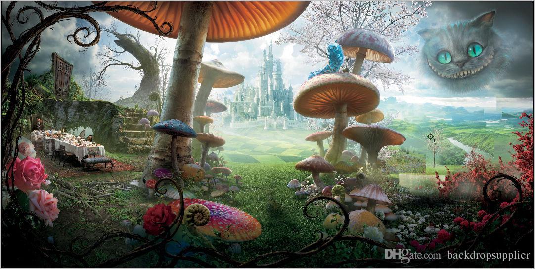 compre 7x5ft alice wonderland mushroom picnic almoço castelo