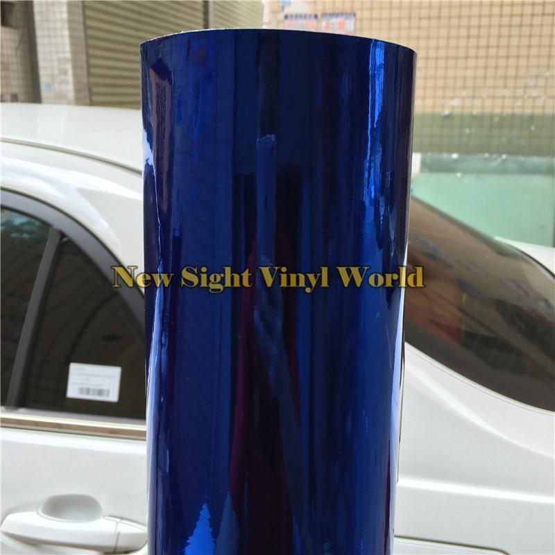 En iyi Kalite Gerilebilir Yüksek Parlak Krom Ayna Mavi Vinil Wrap Için Araba Sarma Folyo Kabarcık Ücretsiz