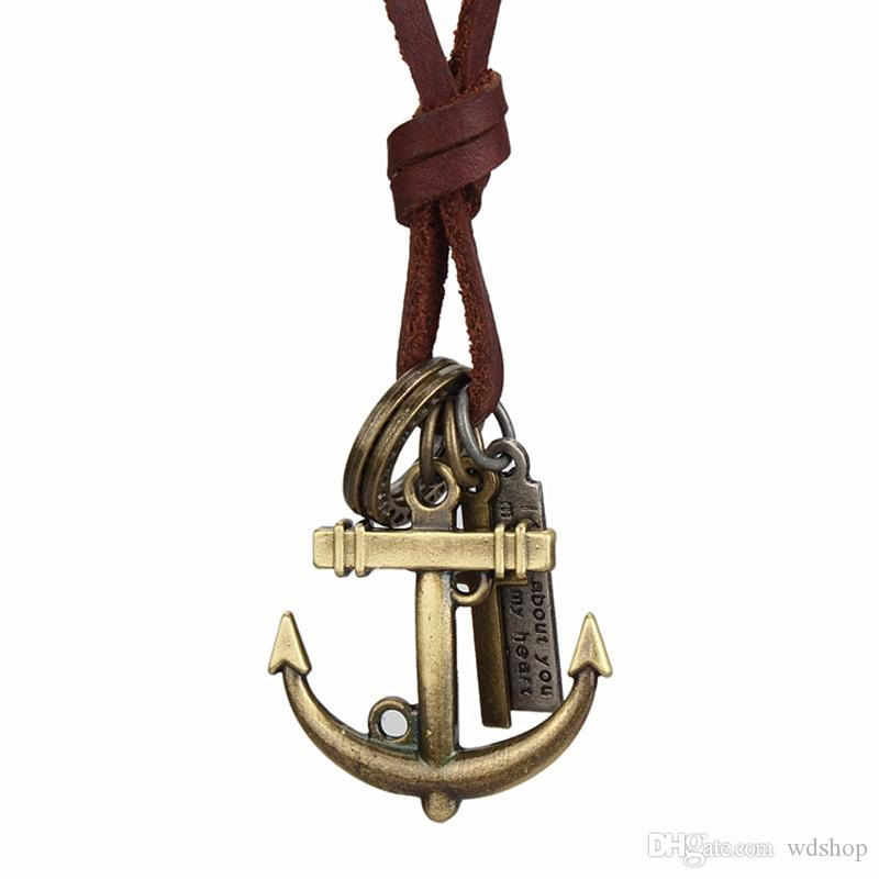 Vintage Men'S Anchor Pendant Necklace For Men Ancient Bronze Cross Circle Tag Charm With Long Genuine Leather Chain