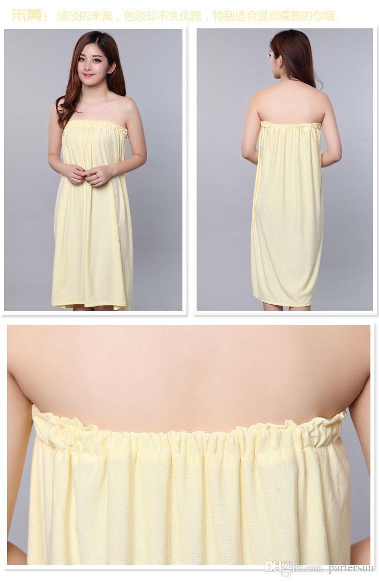 Faldas de baño de algodón puro invitados Ropa de baño de salón de belleza Baño falda de baño sin tirantes albornoz que se limpia el pecho Falda de ropa de vapor de Khan