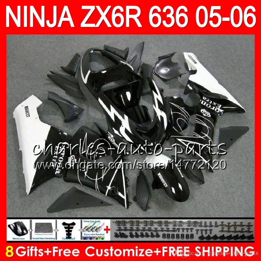 8Gifts kit For KAWASAKI NINJA ZX 636 ZX 6R 05-06 600CC CORONA Black 27NO39 ZX-636 ZX-6R 2005 2006 ZX636 ZX6R 05 06 Fairing Bodywork