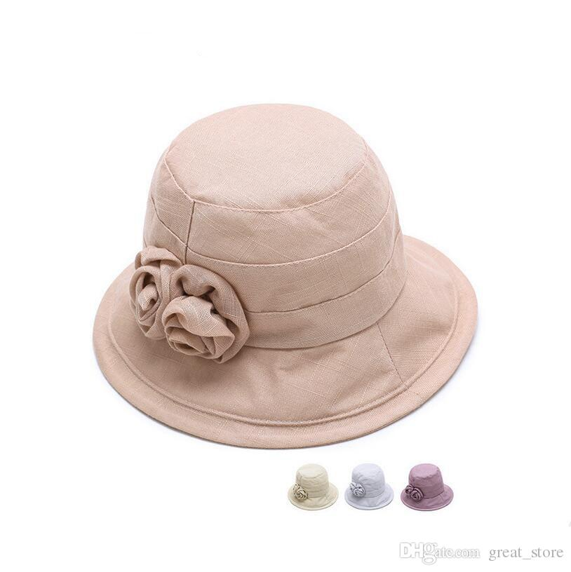 Best Gift Summer Shade Beach Bowl Cap Woman Breathable Linu Fisherman Hat  Old Rose Rose Flower Hat M016 With Box Black Hats Scala Hats From  Great store 685a271a7fb