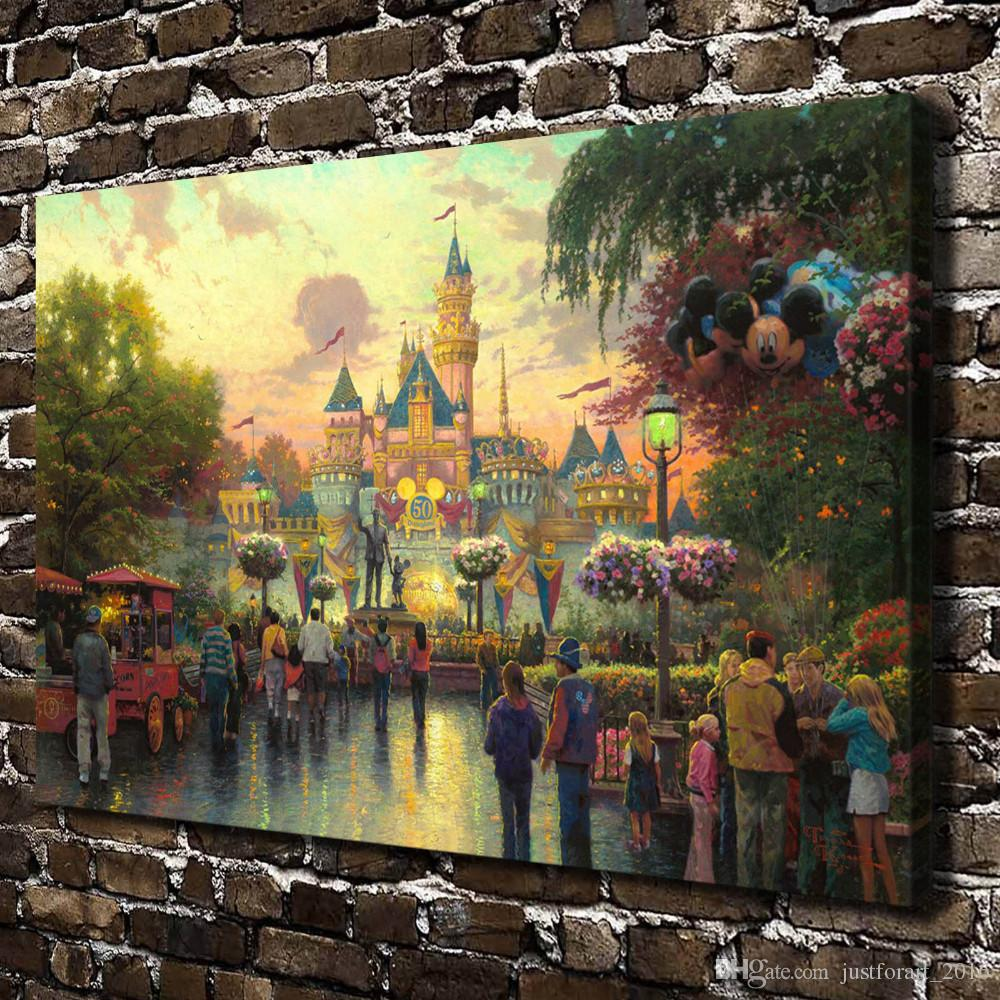 HD Printed Thomas Kinkade Oil Painting Home Decoration Wall Art On Canvas 50th Anniversary Celebration 24x36inch Unframed