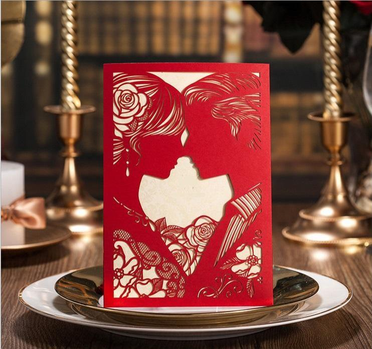New Designed Red White Color Laser Cut Hollow Wed Invitations – Red White Wedding Invitations