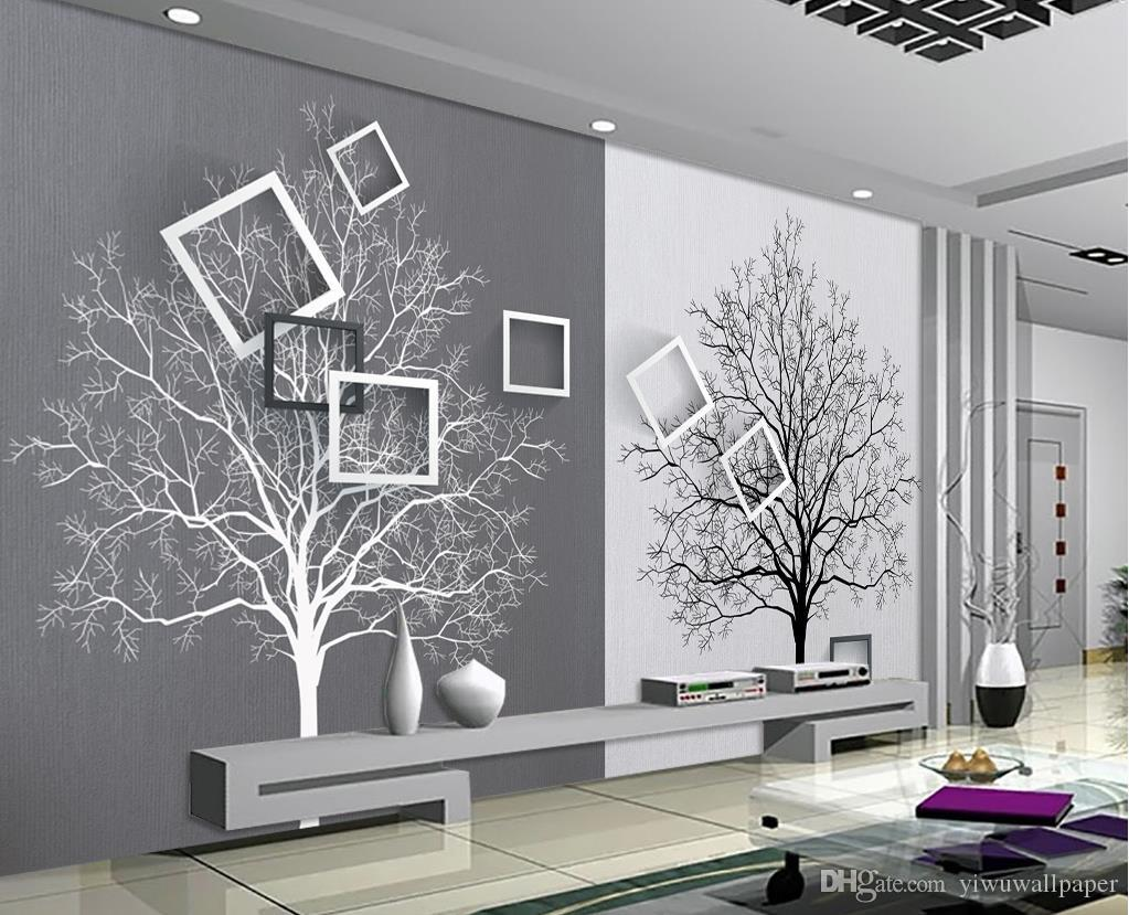 Black and white tree simple 3d tv backdrop mural 3d for Black and white tree wallpaper mural