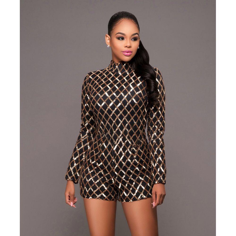 125b40a84b Sexy Elegant Overalls Rompers Women Long Sleeve Bodycon Jumpsuit Shorts  Sequin Casual Catsuit Salopette Jumpsuit Beyonce Body Suit W126836 Women  Jumpsuit ...