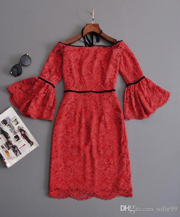 Sexy off shoulder lace ladies dresses women halter Sexy hollow out flare sleeve girl dress Summer beach dress vestidos