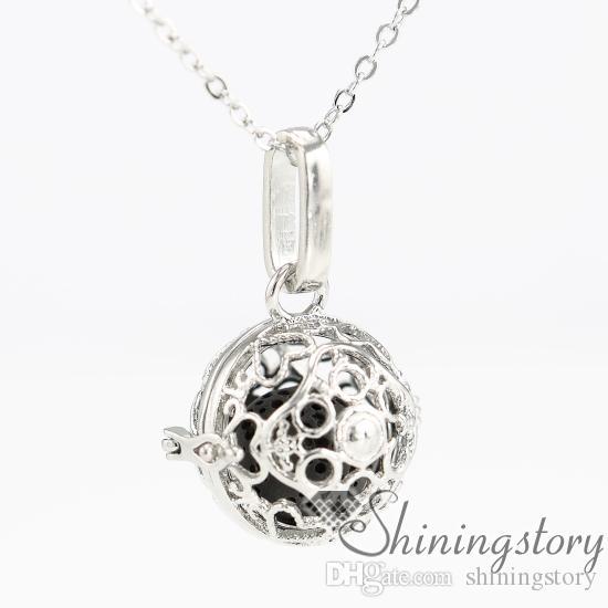 cuore palla metallo pietra vulcanica olio essenziale collana ragazze locket incisione medaglioni ciondoli aroma openwork necklacesheart palla metallo v