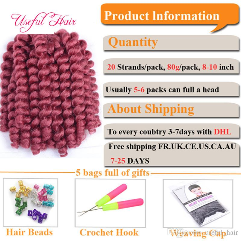 8inch 2X Jumpy wand curl braid bouncy twist Jamaica synthetic braiding hair extensions crochet braids hair for black women
