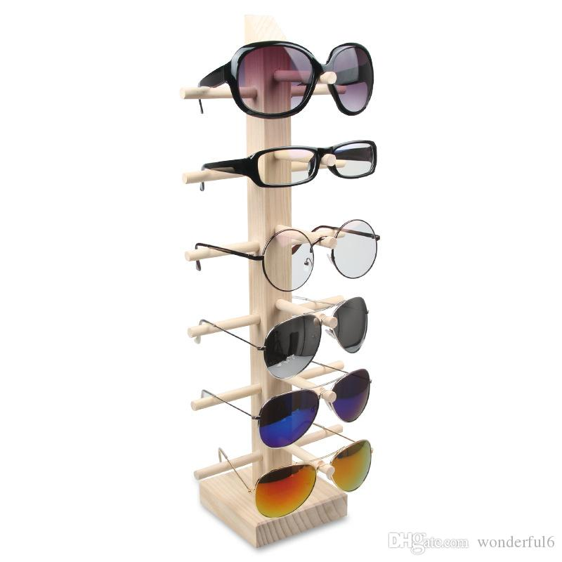 I nuovi occhiali da sole di legno Holder Rack di donne degli uomini degli occhiali da sole mensola di esposizione domestica Organizzatore struttura di vetro Contenitore