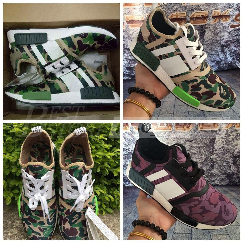 272a86edb Wholesale 2017 Super BAPES X NMD Runner R1 Green Camo Triple White Men  Running Shoes Originals Fashion NMD Runner Athletic Shoes Running Shoes For  Women ...