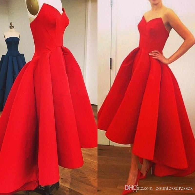 2017 High Low Red Prom Dresses Cheap Satin Short Front Long Back ...