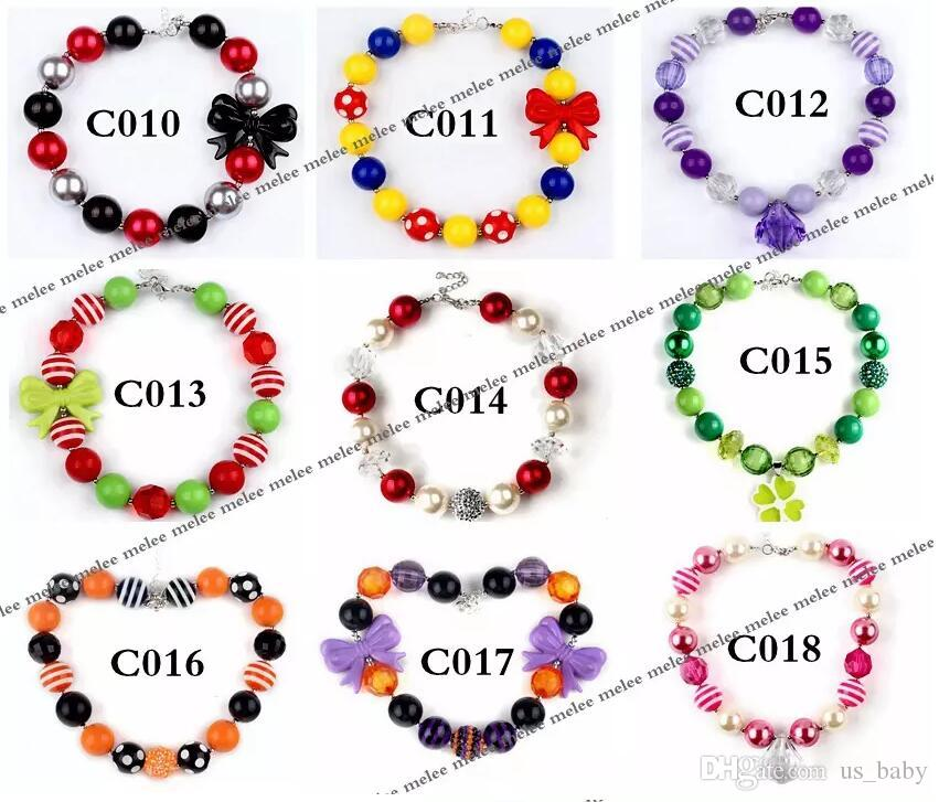 Kids Girls Chunky Necklaces Bubblegum Necklace Children holiday style Bead DIY Gumball Beads Jewelry Accessories for Party Gifts