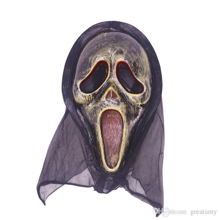 En gros masque Halloween long visage crâne fantôme effrayant cri cri masque effrayant d'horreur terrible masque crier sorcière complet